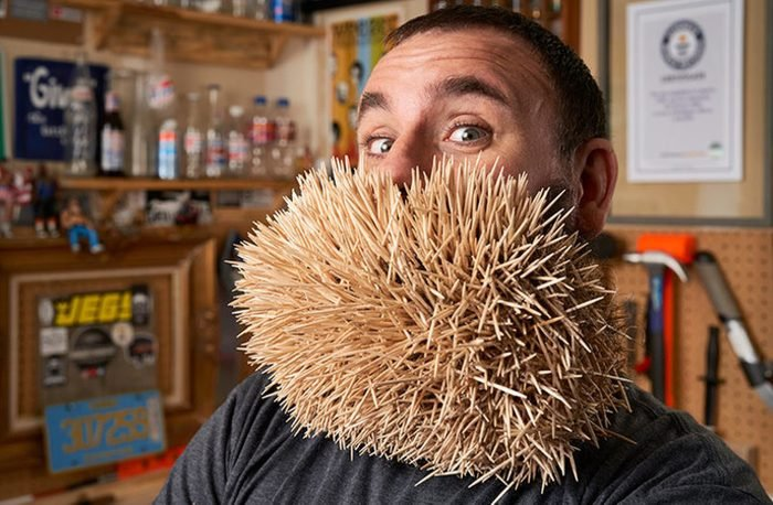 mot toothpicks in a beard world record