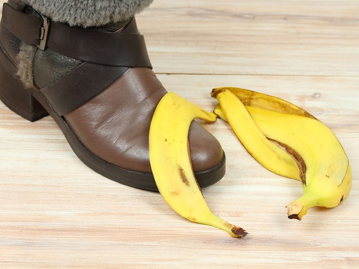 Banana peel used to polish boots.