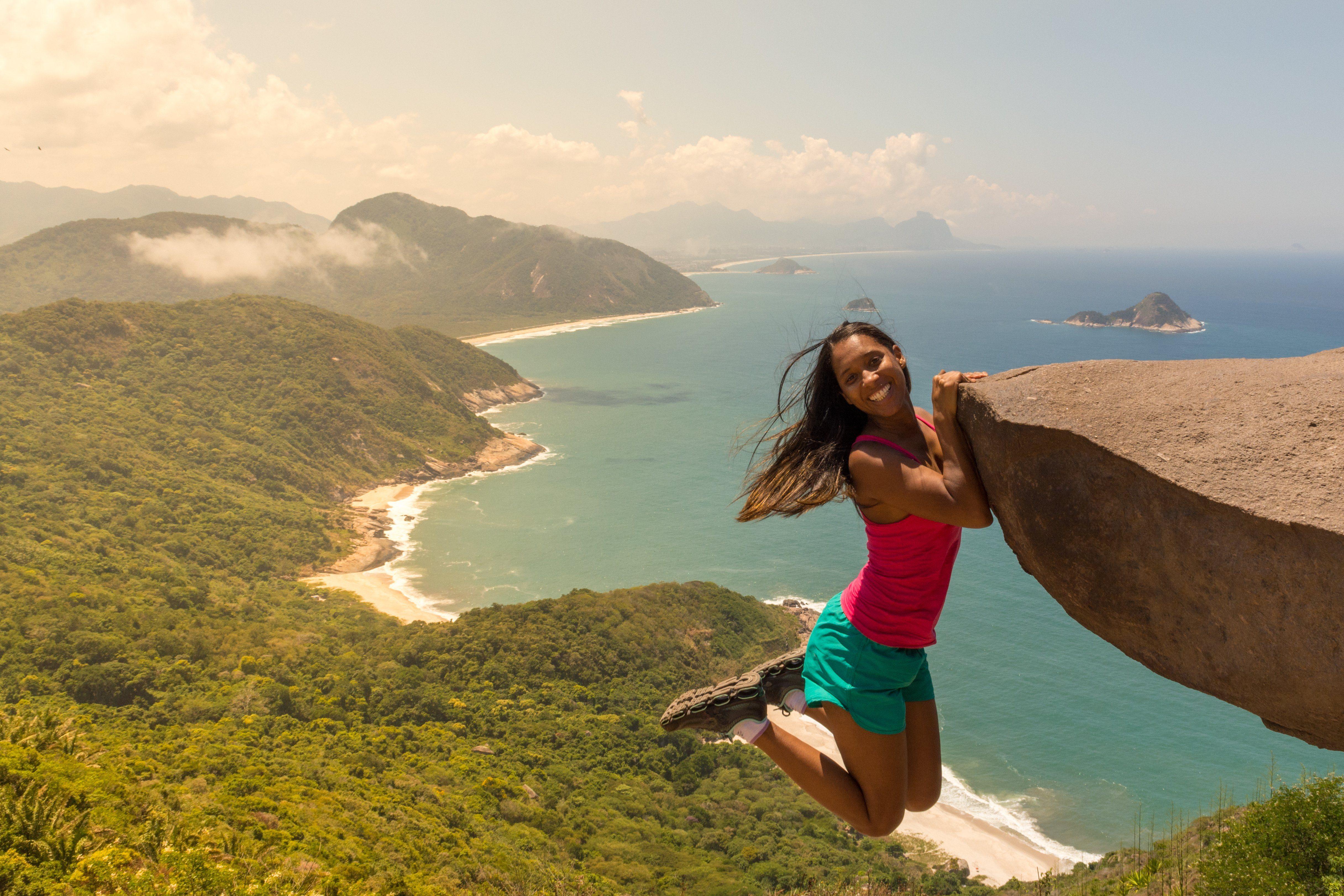 young woman at the Pedra do Telegrafo, Barra de Guaratiba, Rio de Janeiro / Brazil