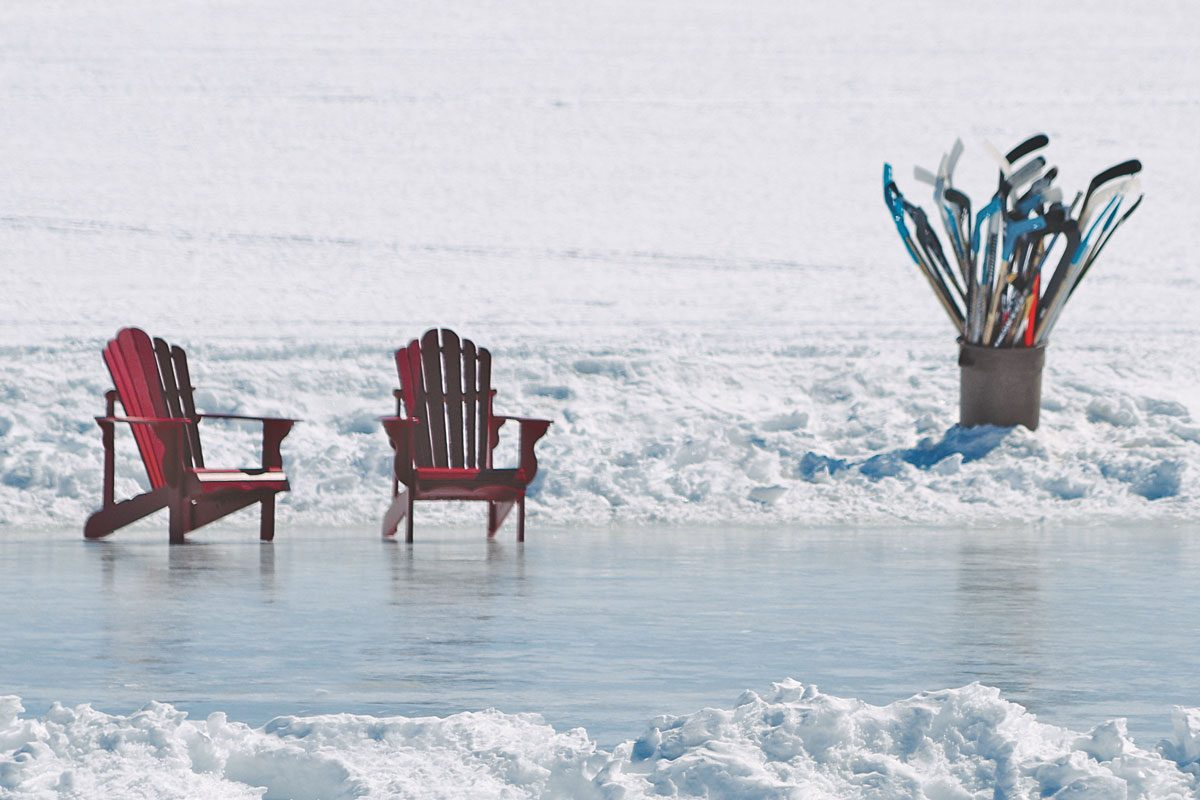 Improvised ice rink on local pond