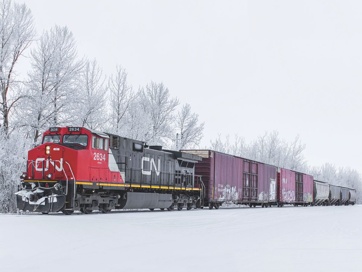 Trains in Canadian winter landscape