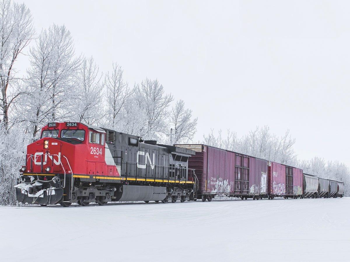 Trains in Canadian winter landscape
