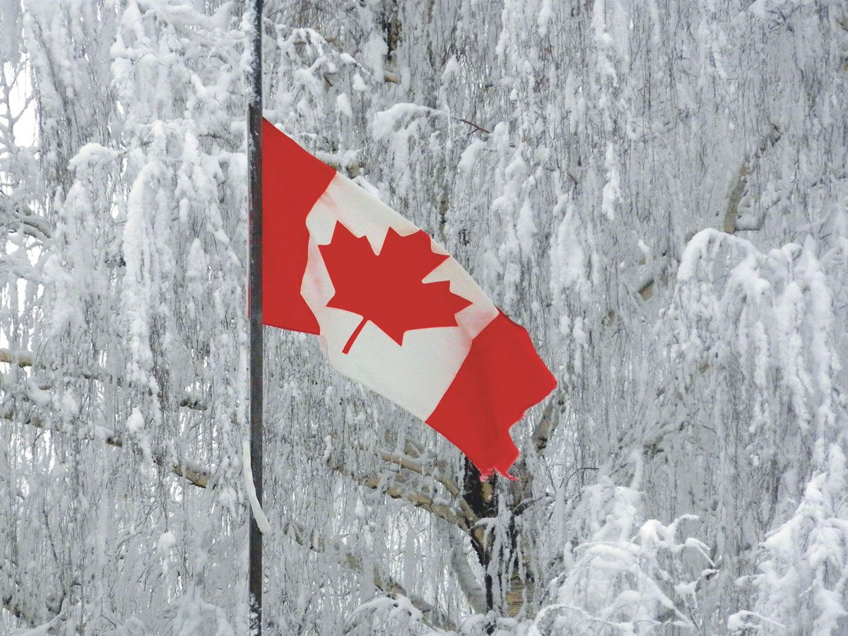 Canadian flag in frozen winter landscape