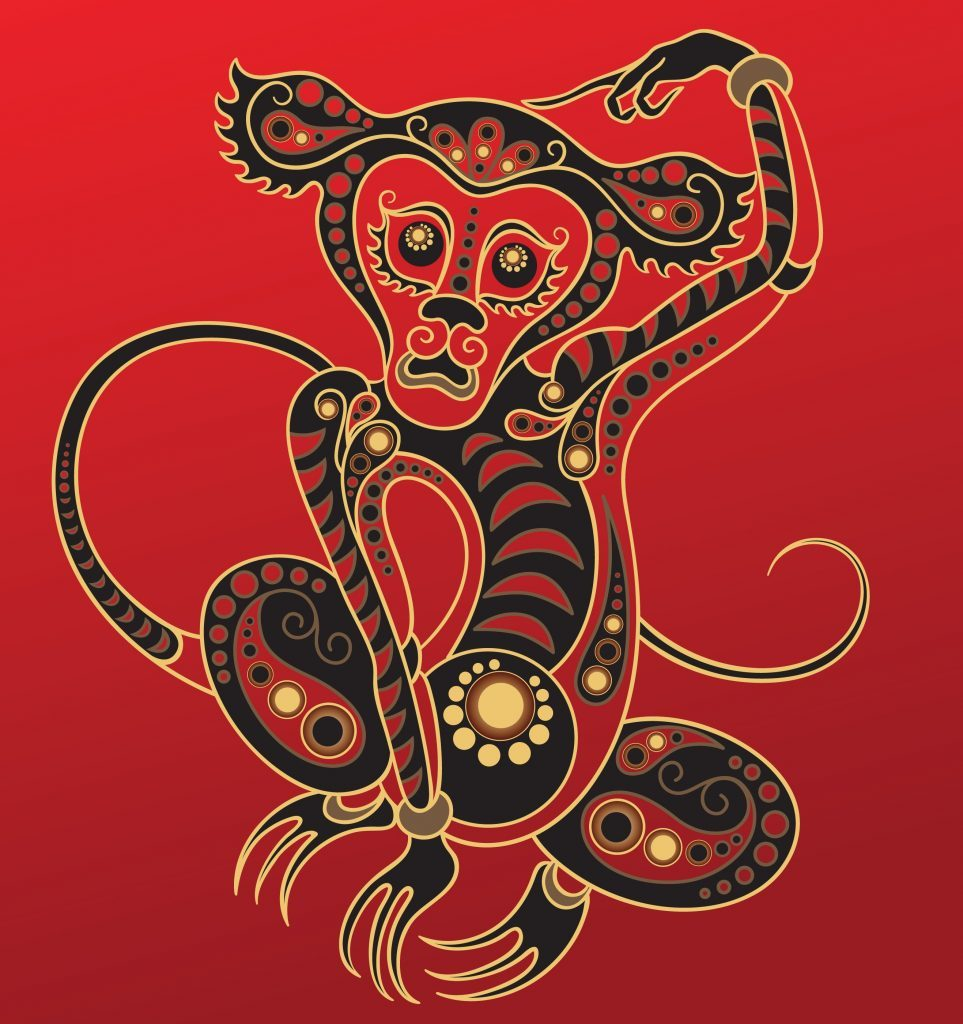 Monkey - Chinese horoscope animal sign. The vector art image in decorative style.