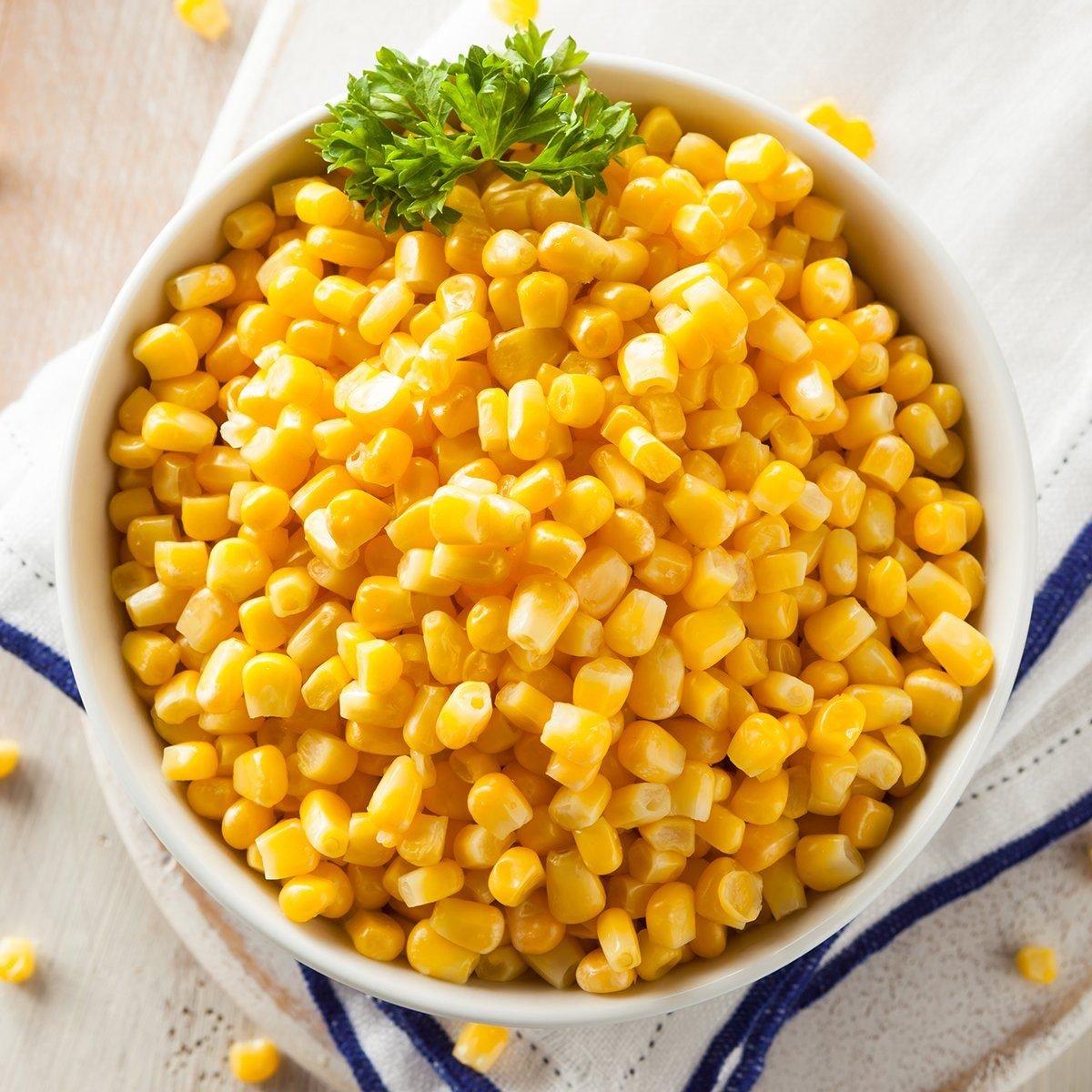 Organic Yellow Steamed Corn in a Bowl; Shutterstock ID 266295782; Job (TFH, TOH, RD, BNB, CWM, CM): TOH