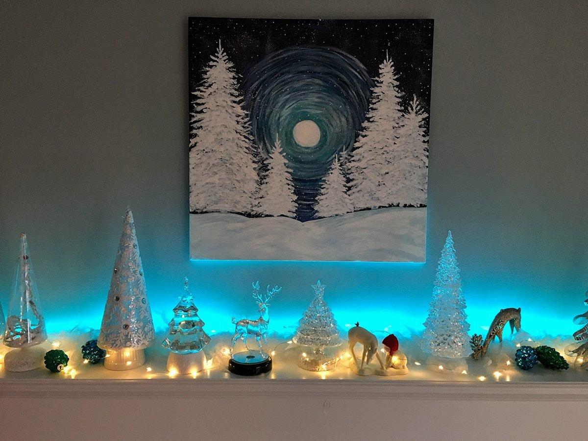 Deck the halls - blue holiday mantel vignette