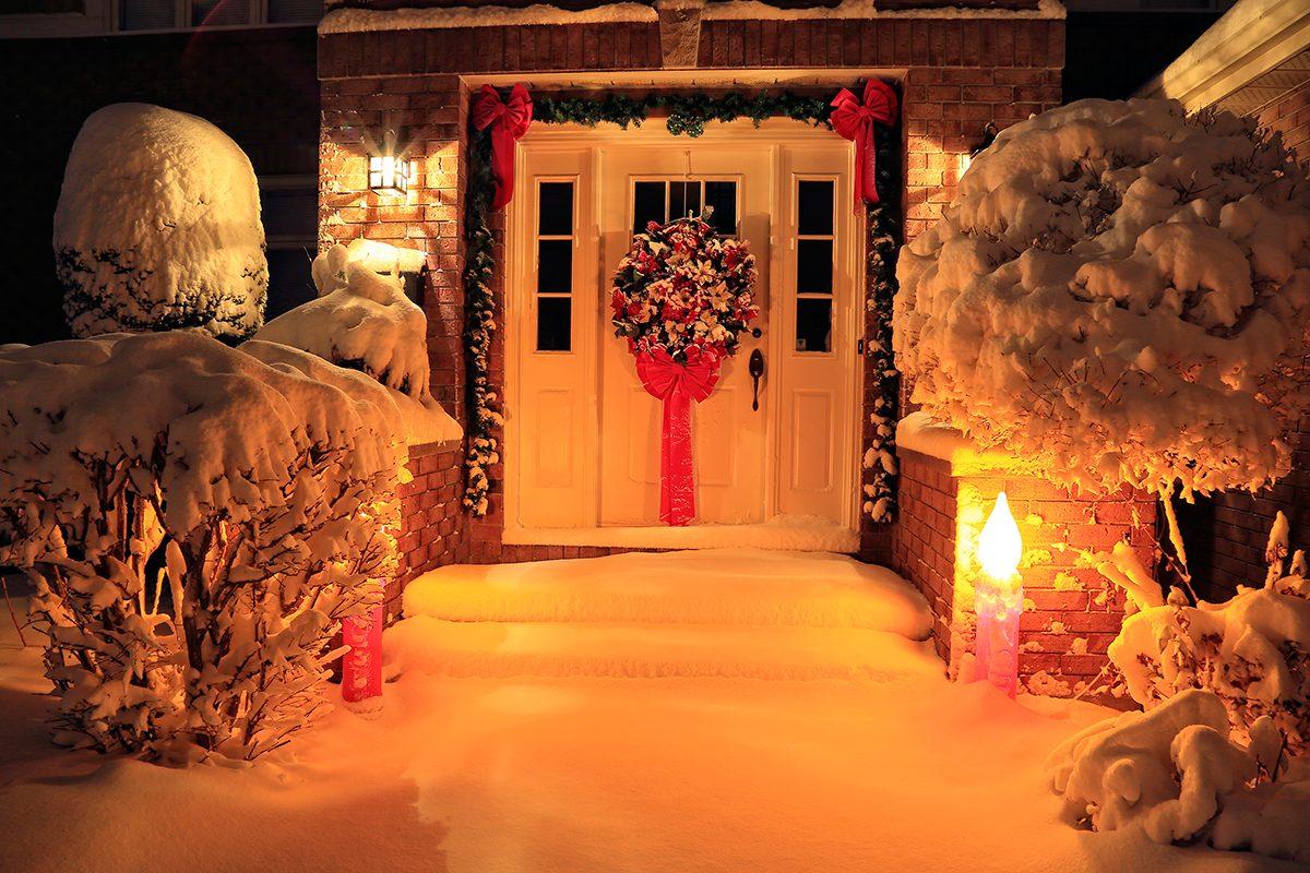 Deck the halls - front door decor with snow