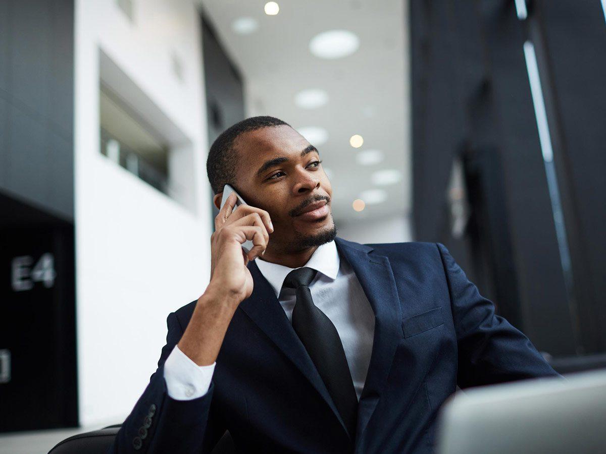 Businessman making a phone call