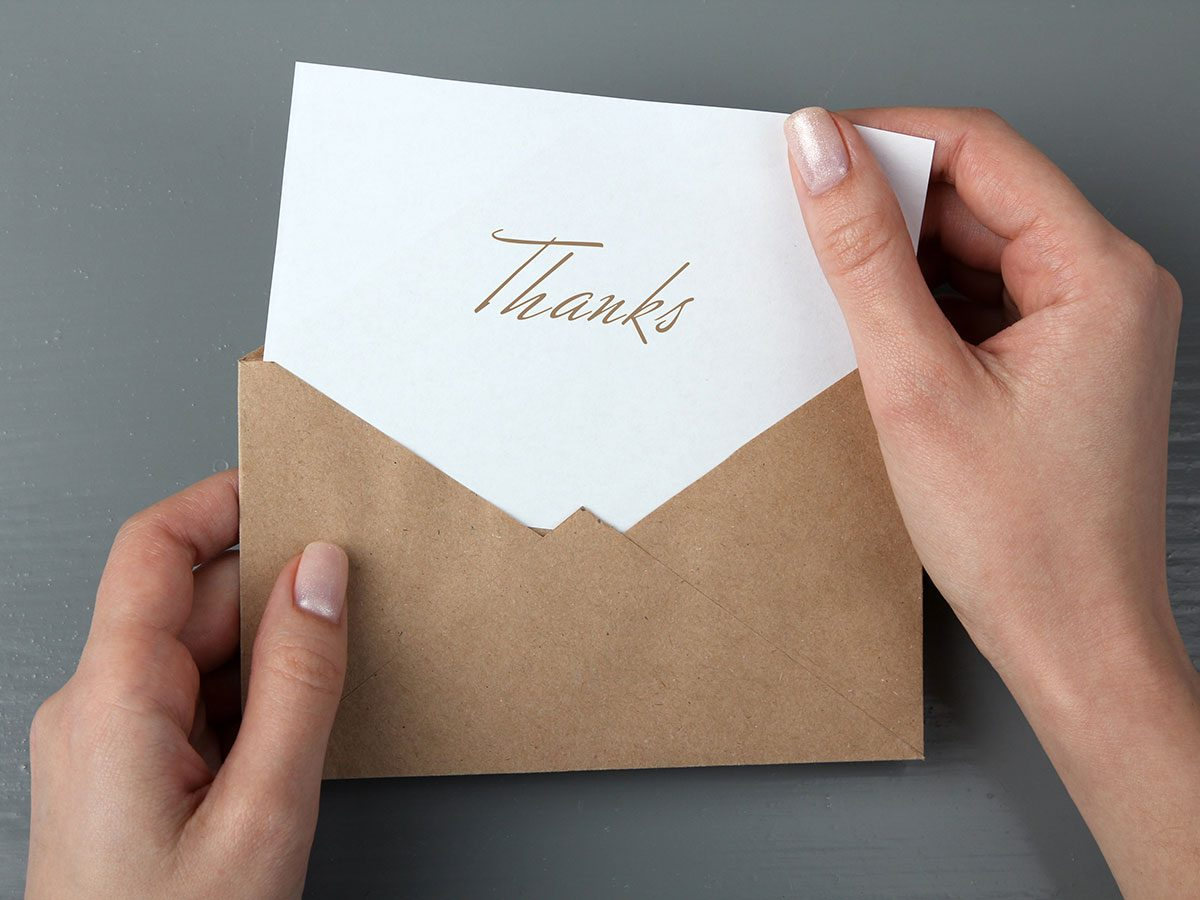 A good party guest writes a thank you note