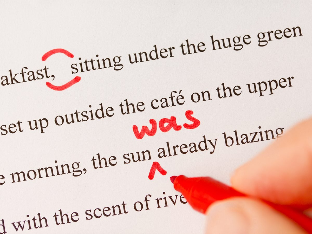 Hilarious tweets - editor editing in red pen