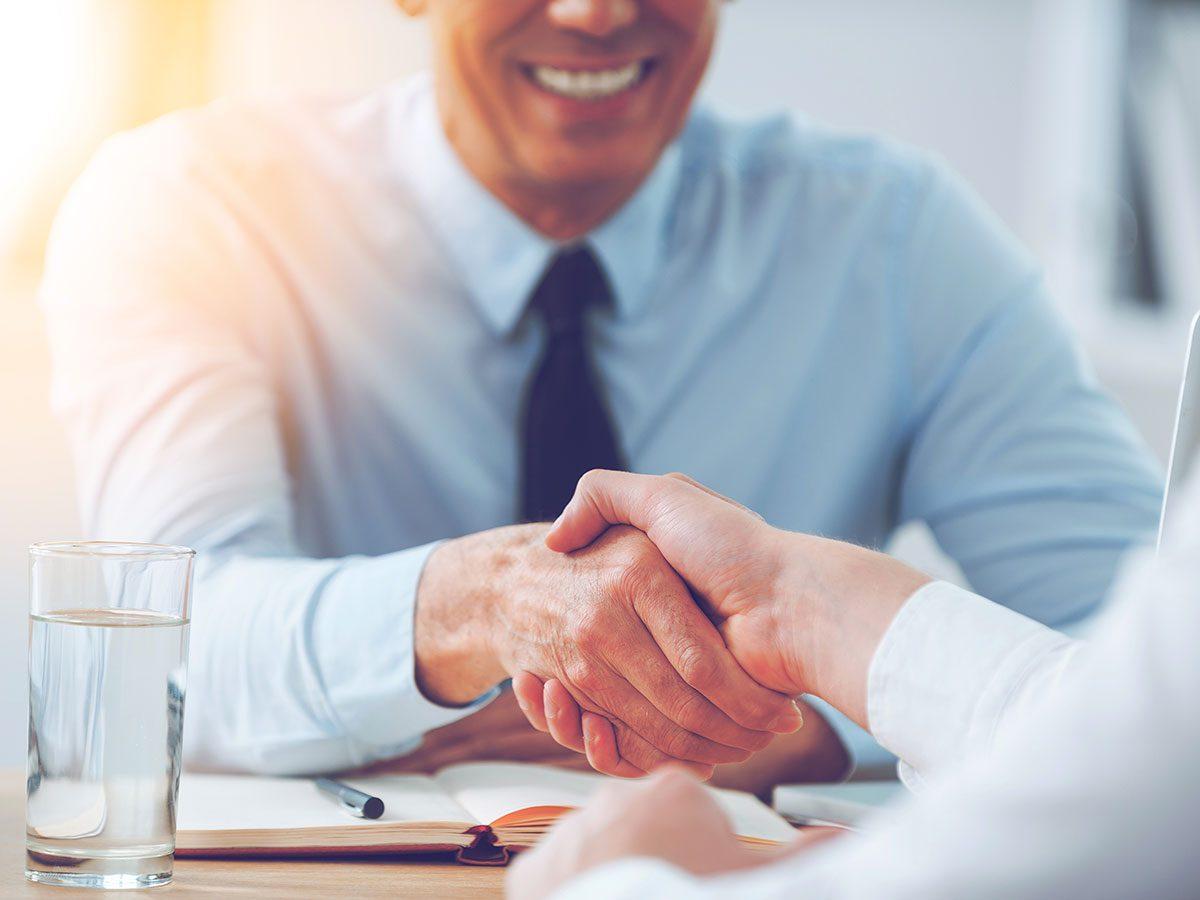 Hilarious work jokes - business handshake