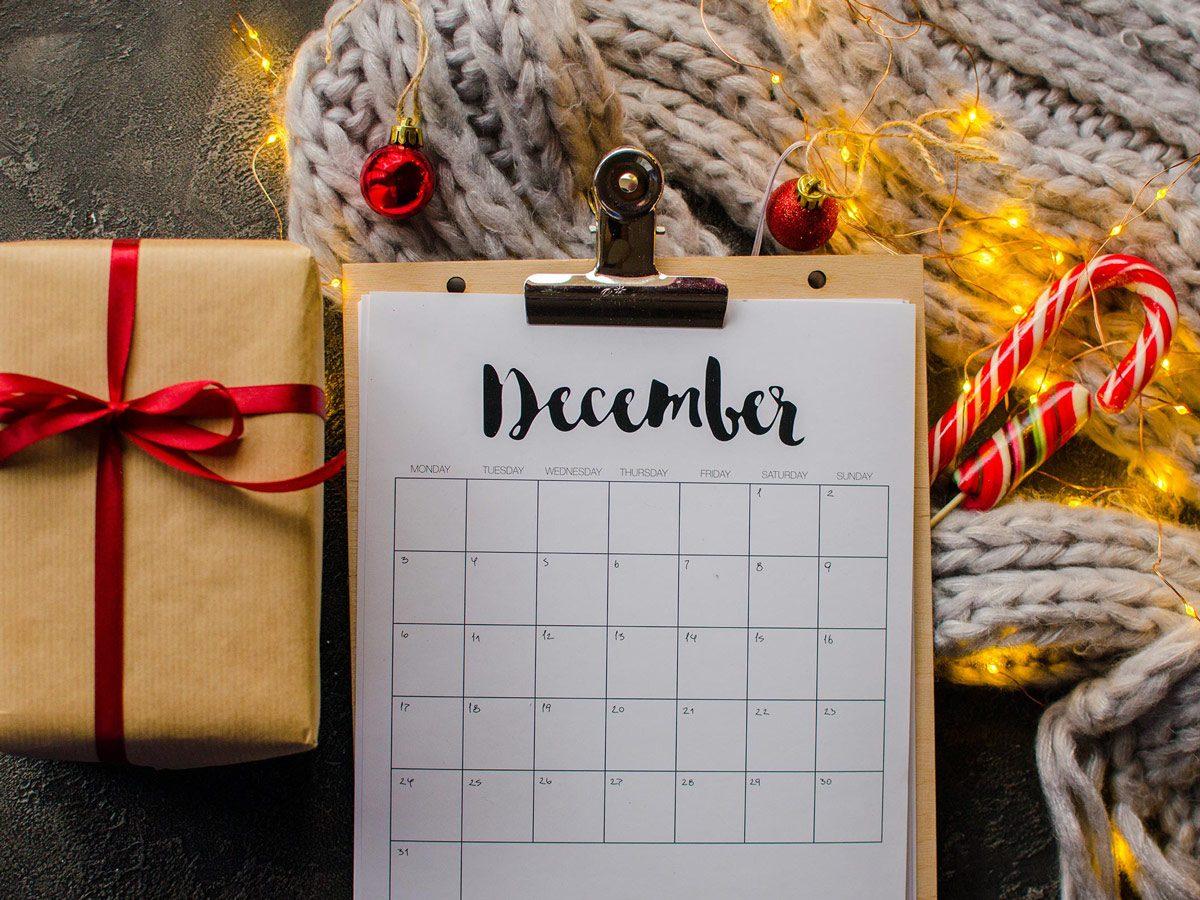 Calendar month of December