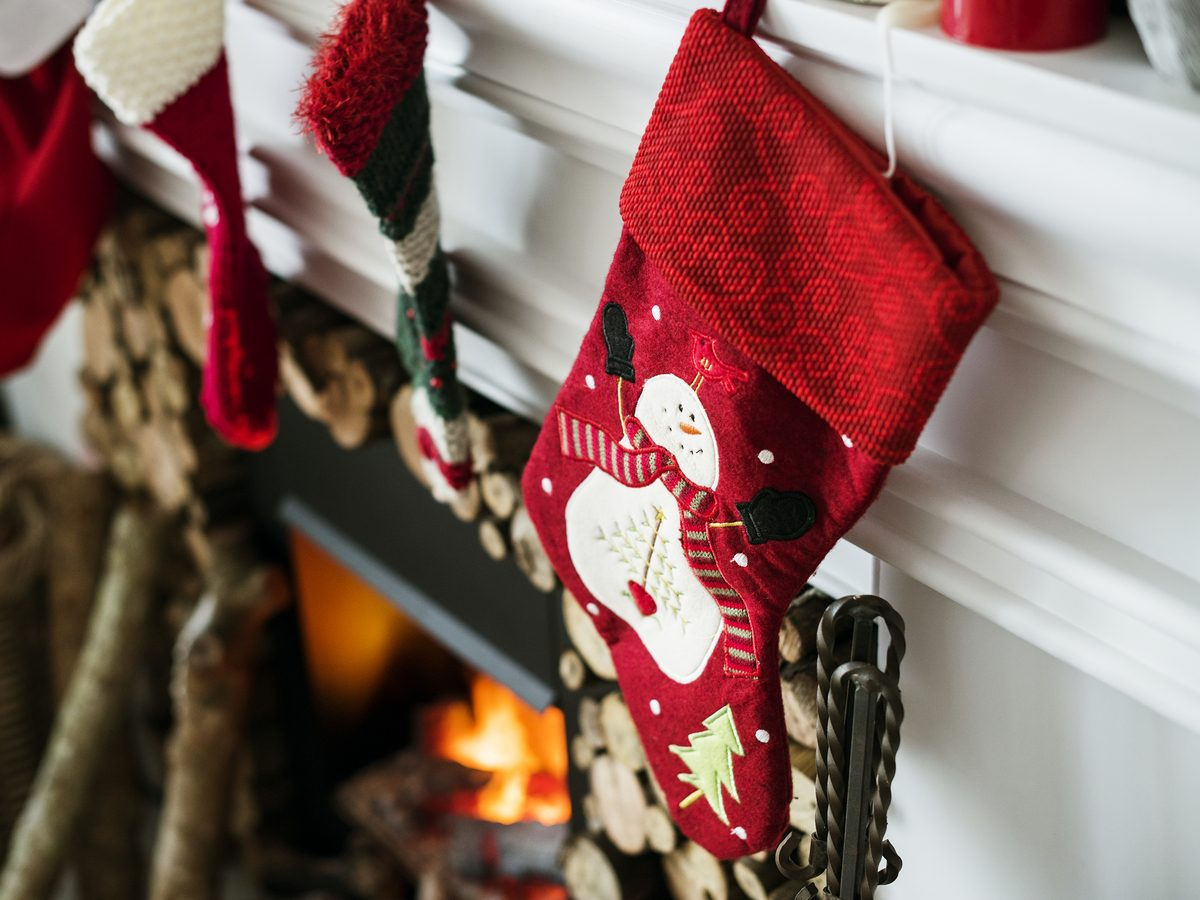 Christmas stockings hanging on a chimney