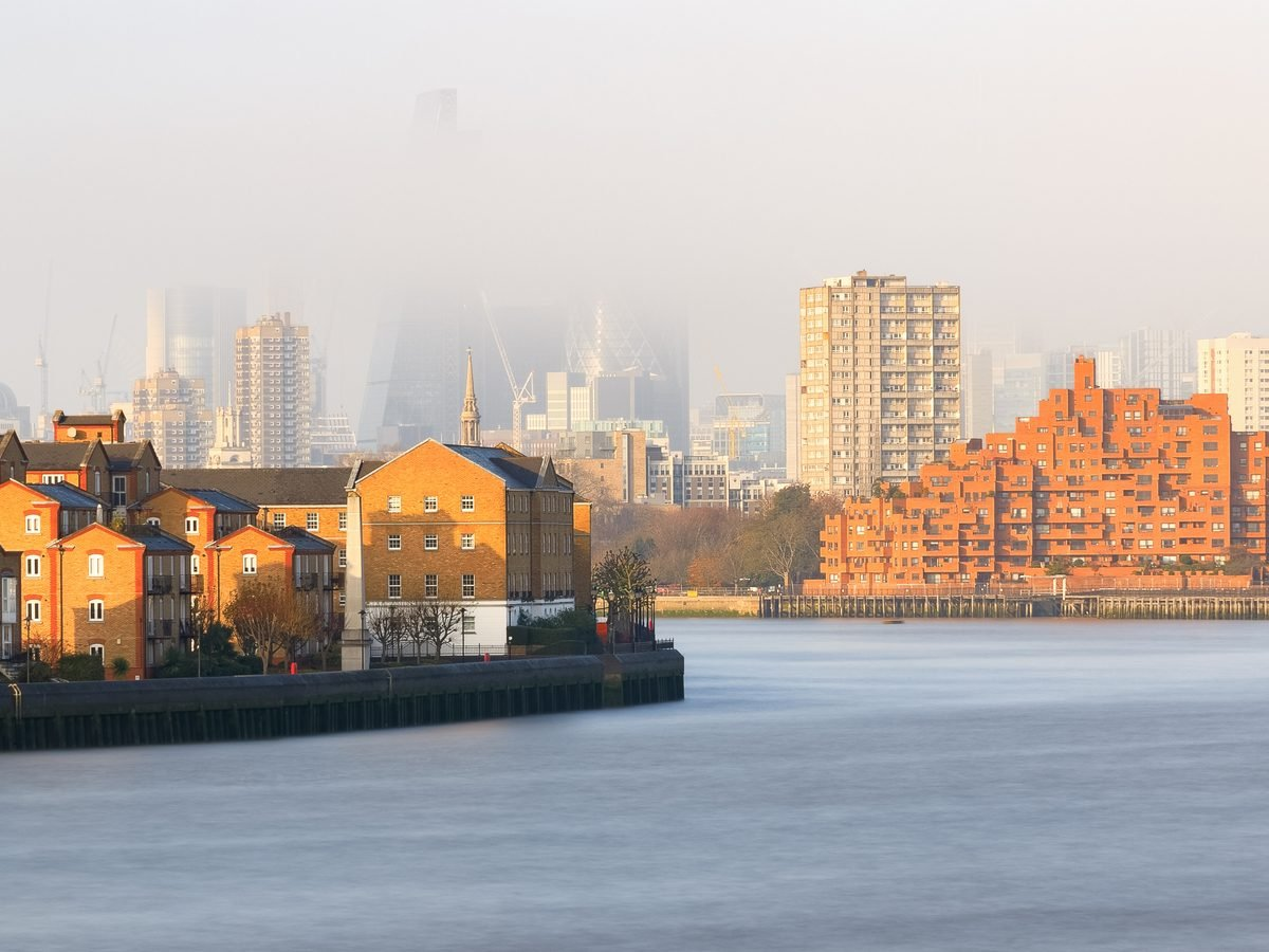 Air pollution visible in London, England suburb