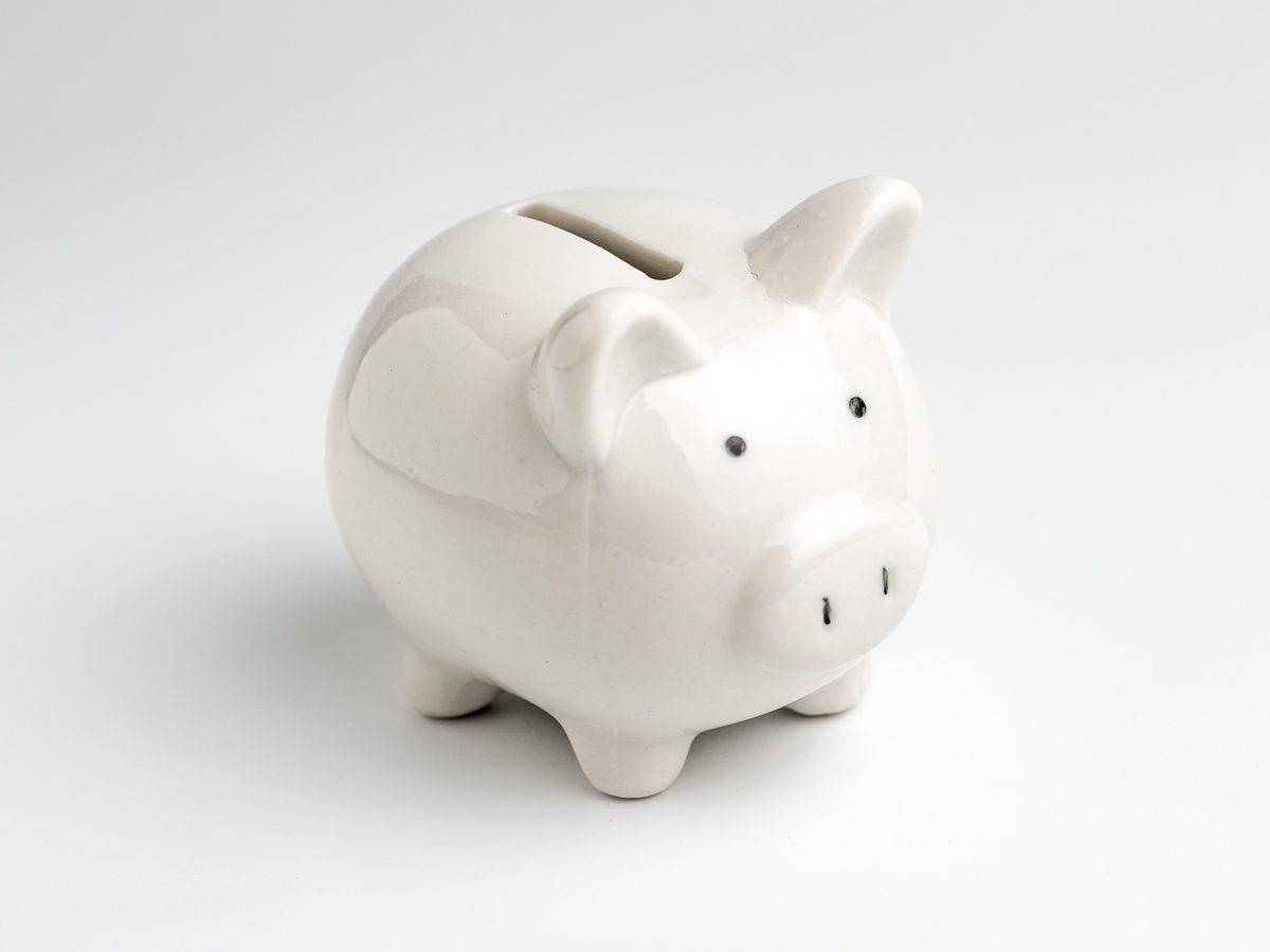 White piggy bank close-up