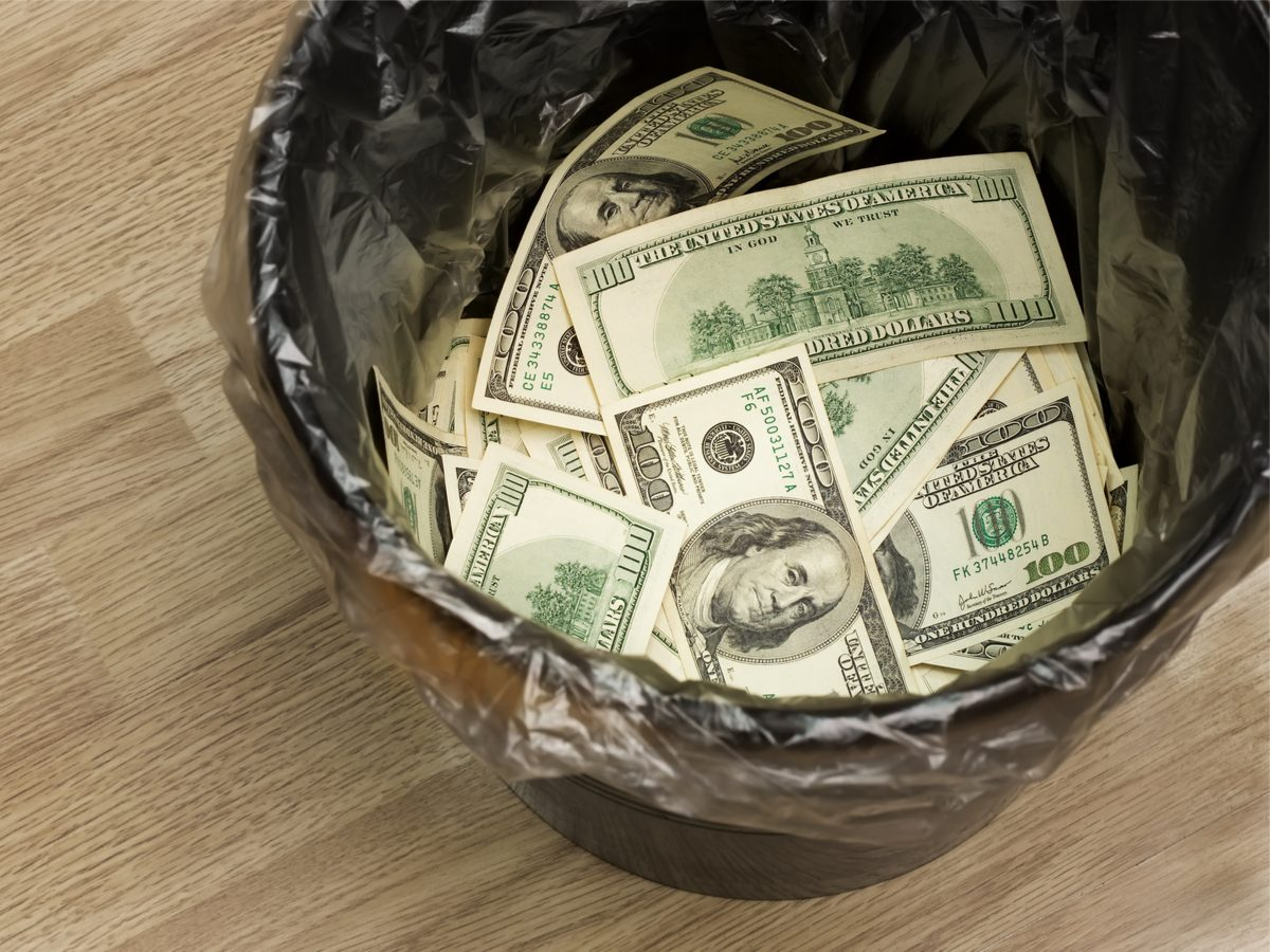 Money in garbage