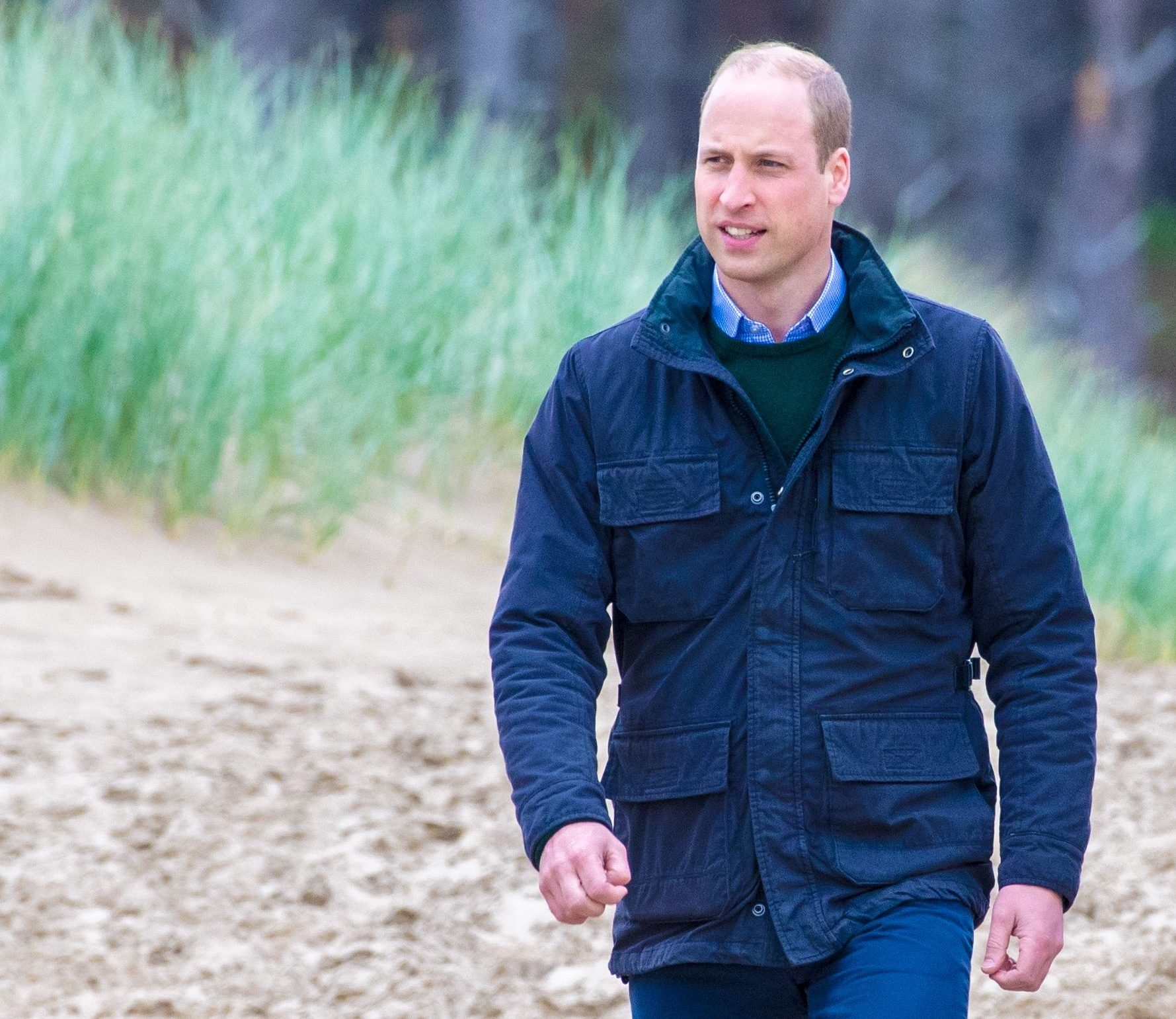 Mandatory Credit: Photo by Shutterstock (10231845p) Prince William at Newborough Beach Prince William and Catherine Duchess of Cambridge visit to Wales, UK - 08 May 2019