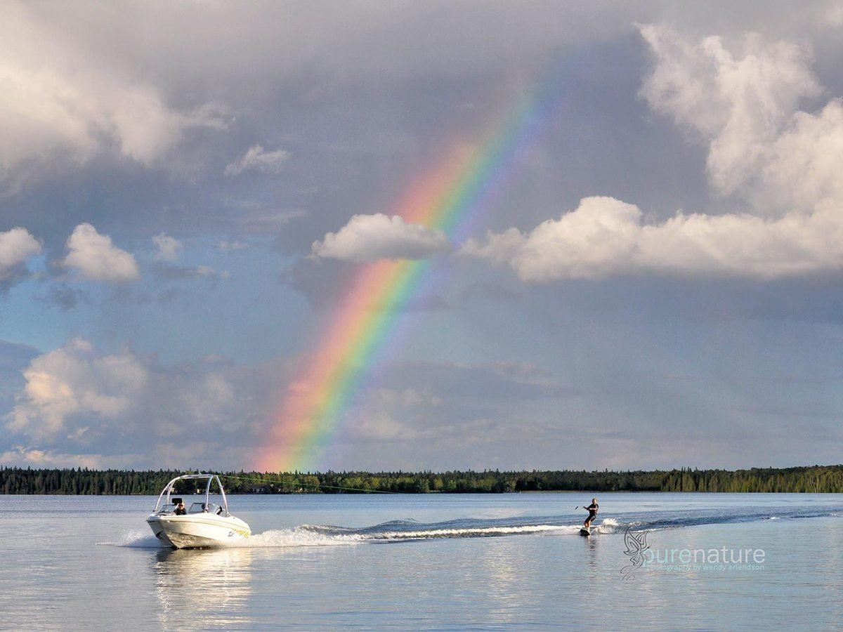Rainbow photography - wake boarding and boat rainbow