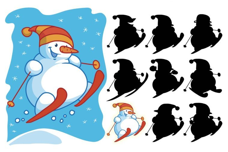 Funny snowman skiing. Find the correct shadow. Educational matching game for children. Cartoon vector illustration