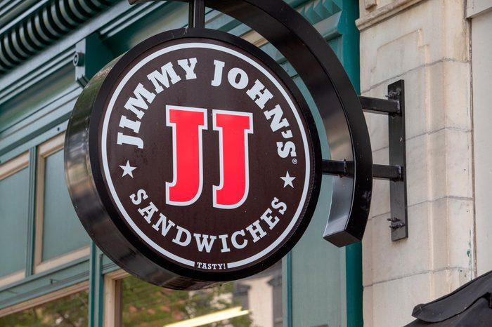 Close up on Jimmy John's logo on the exterior of a buildin