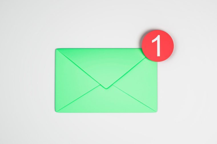 One green email icon on white background. Communication and app concept. 3D Rendering