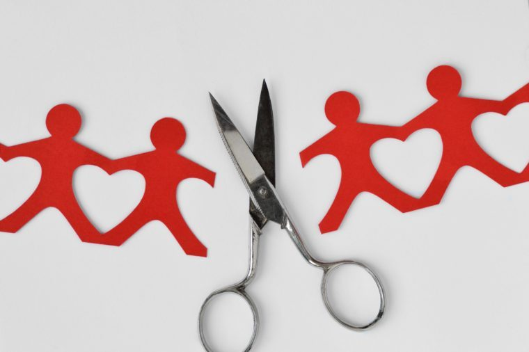 Broken people paper chain with scissors on white background - Broken relationships concept
