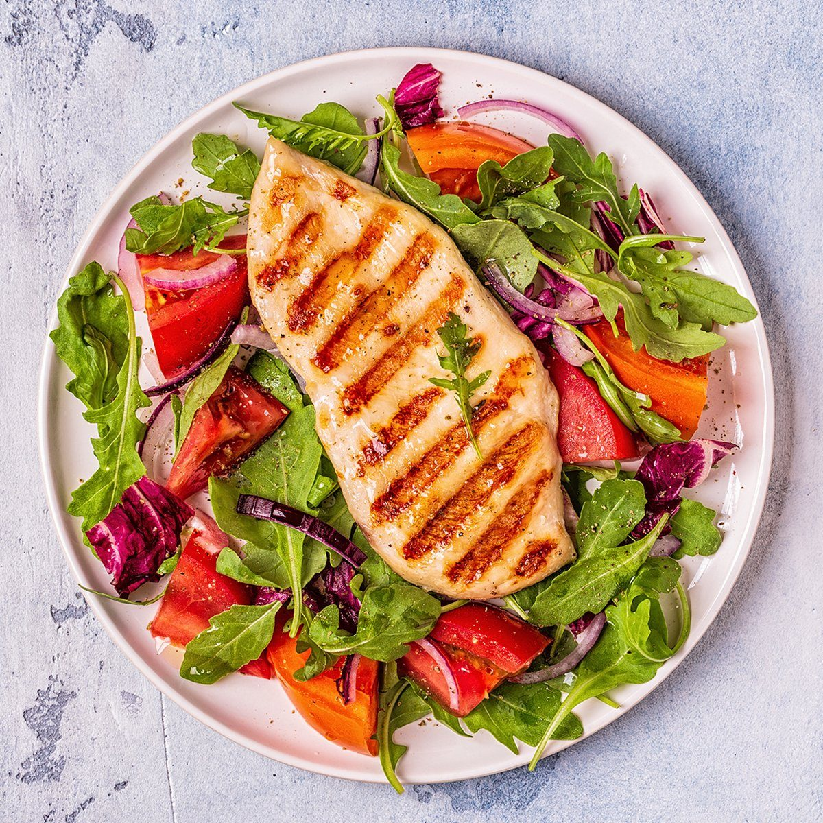 Chicken breast with fresh salad, top view.; Shutterstock ID 1254618559; Job (TFH, TOH, RD, BNB, CWM, CM): TOH