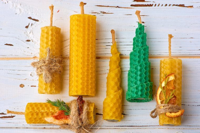 Decorative candles made of beeswax with a honey aroma for interior and tradition.