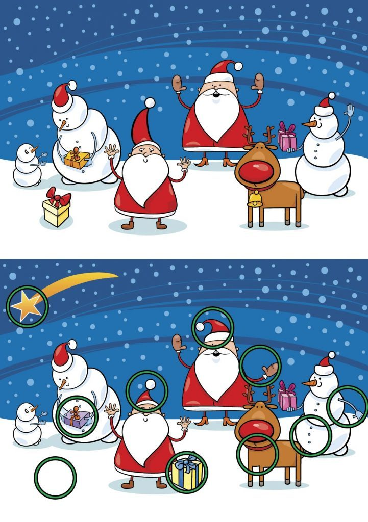 Cartoon Vector Illustration of Differences Educational Game for Preschool Children with Christmas Characters