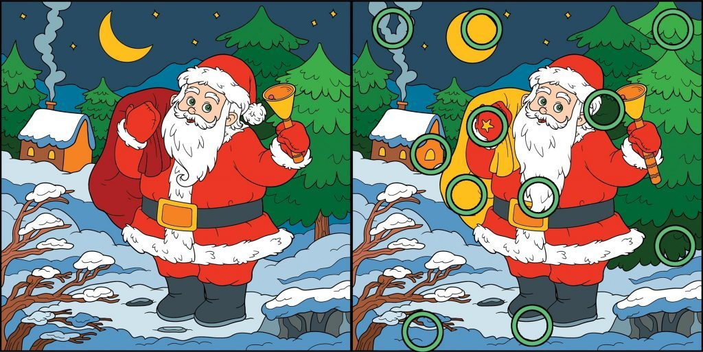 Find differences, game for children: Santa Claus