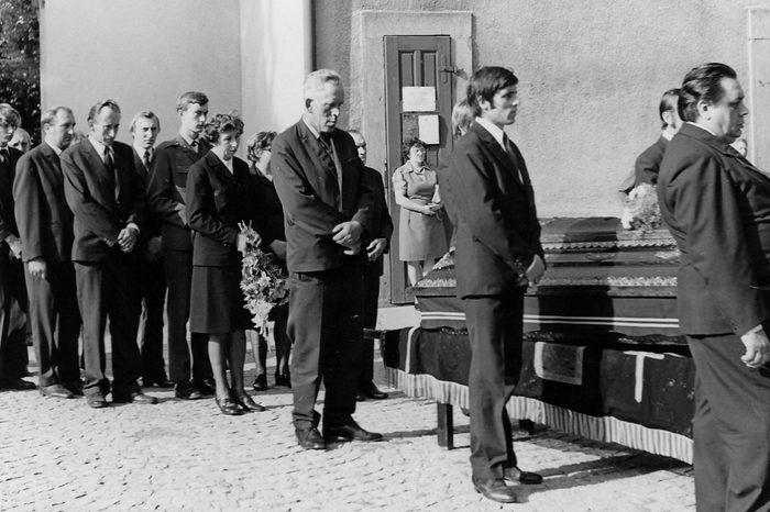 all black attire at funeral