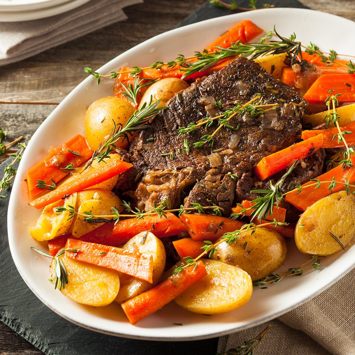 Homemade Slow Cooker Pot Roast with Carrots and Potatoes; Shutterstock ID 394255612; Job (TFH, TOH, RD, BNB, CWM, CM): TOH