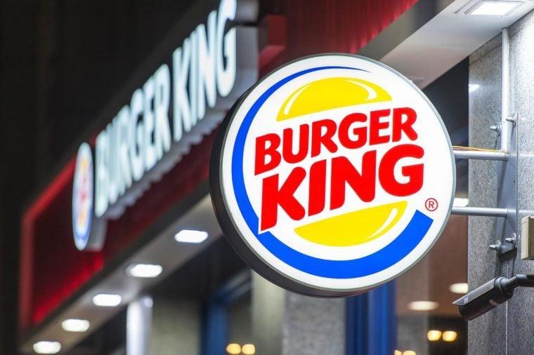 close up on Burger King restaurant exterior