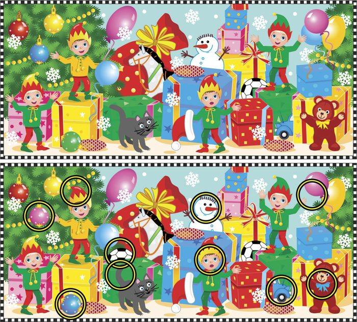 Christmas or New Year visual puzzle: Find the ten differences between the two pictures of elves waiting for Santa to show their work done. Answer included.