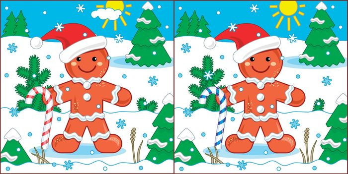 New Year or Christmas visual puzzle: Find the seven differences between the two pictures with ginger man. Answer included.