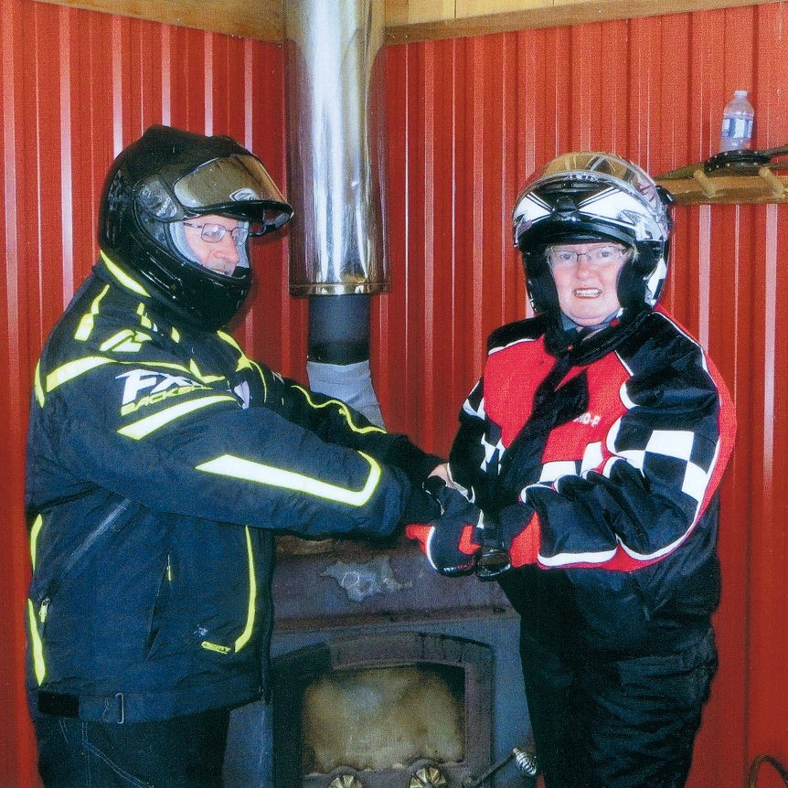 Snowmobilers warming up