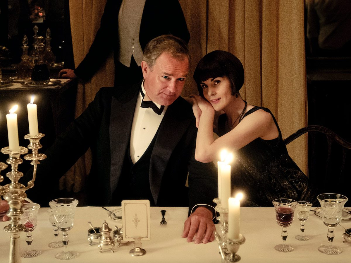 Actors Hugh Bonneville and Michelle Dockery on the set of Downton Abbey