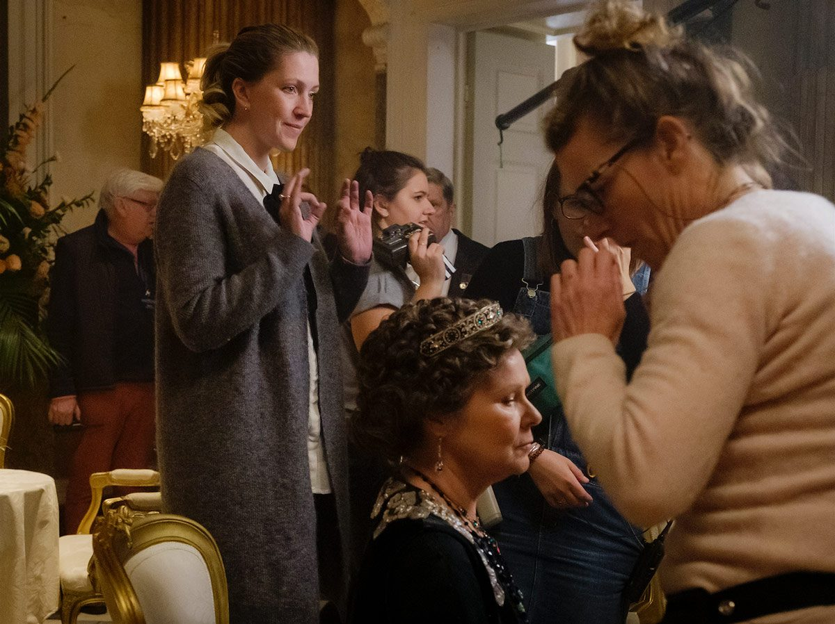 Costume designer Anna Robbins and actor Imelda Staunton on the set of Downton Abbey