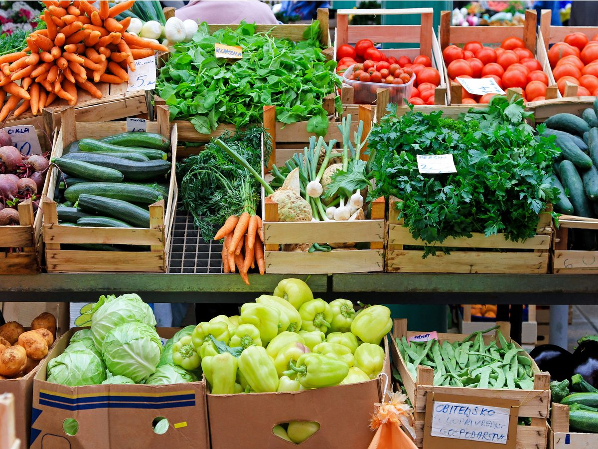 Fruits and vegetables at farmers' market