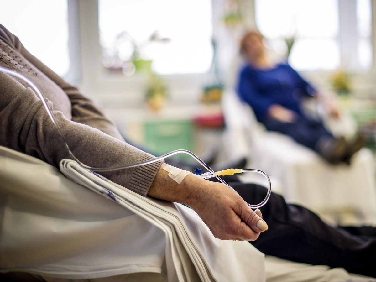 Cancer patient receiving chemotherapy at hospital