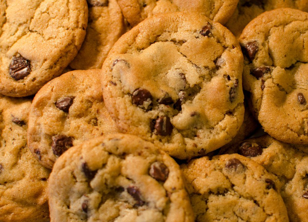 Chocolate-chip cookies up close