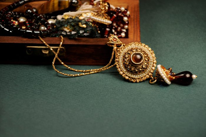 Diamond and stones pendant with gold chain with wooden box, Indian Traditional jewelry