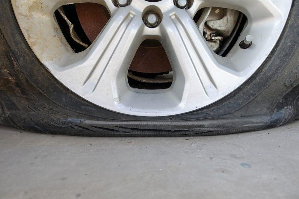 Closeup for car flat tire