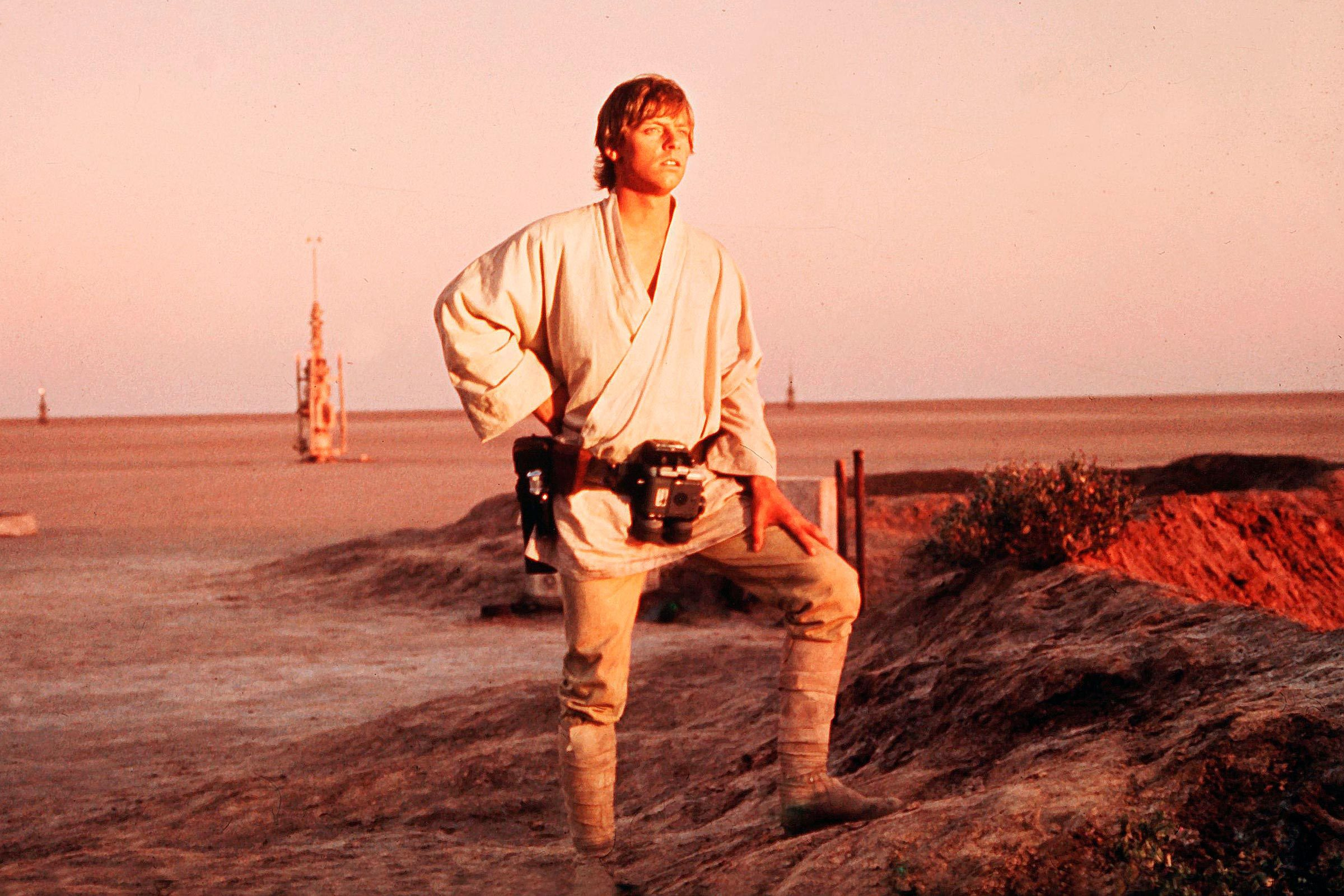 Mark Hamill on the set of Star Wars Episode IV: A New Hope, 1977