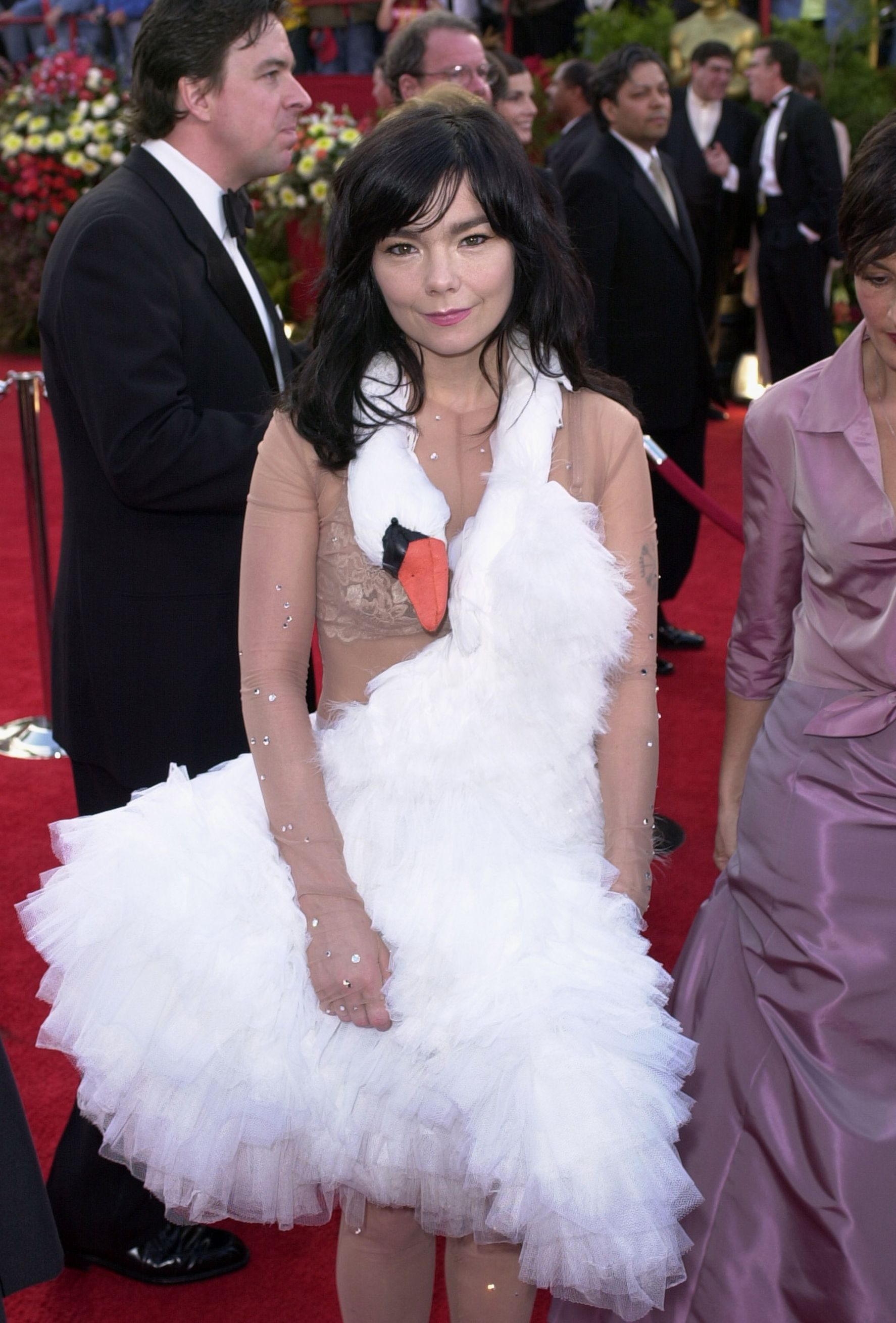 """Mandatory Credit: Photo by Michael Caulfield/AP/Shutterstock (6464400a) Bjork Singer Bjork, wearing a Marjan Pejoski swan gown, arrives at the 73rd annual Academy Awards, in Los Angeles. Bjork is nominated for best song for """"I've Seen it All"""" from the film """"Dancer in the Dark 2001 Academy Awards, Los Angeles, USA"""