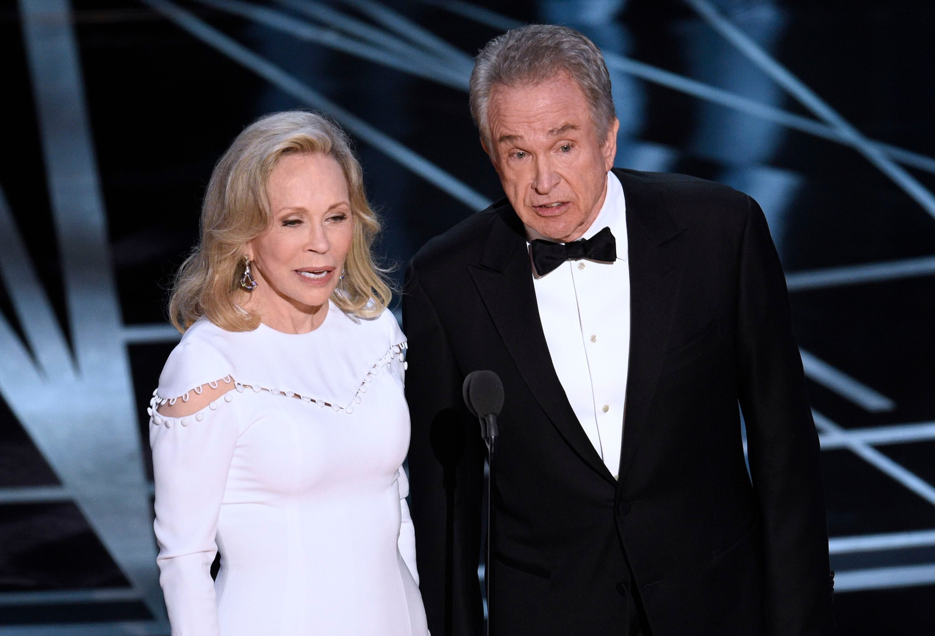 Mandatory Credit: Photo by Invision/AP/Shutterstock (9241604de) Faye Dunaway, left, and Warren Beatty present the award for best picture at the Oscars, at the Dolby Theatre in Los Angeles 89th Academy Awards - Show, Los Angeles, USA - 26 Feb 2017
