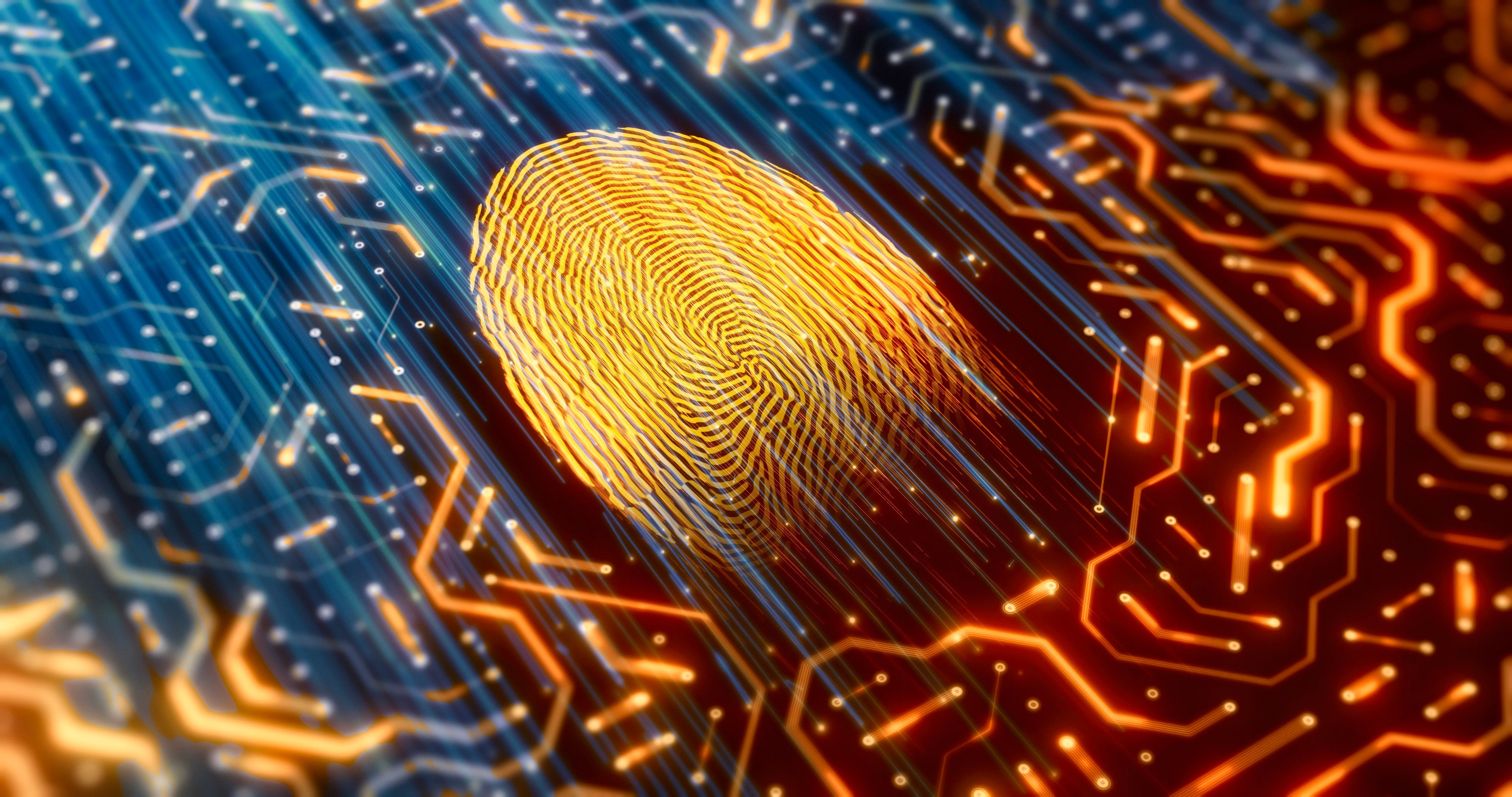 digital concept with fingerprint