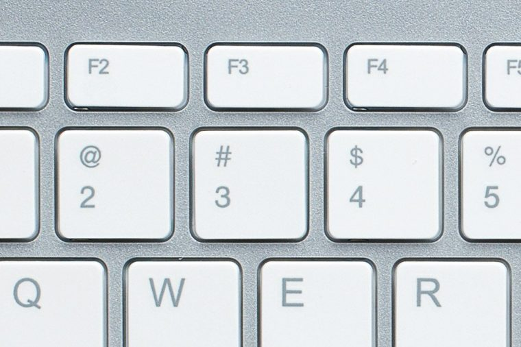 close up of computer keyboard. 2 ampersand, 3 pound, 4 dollar sign, 5 percent