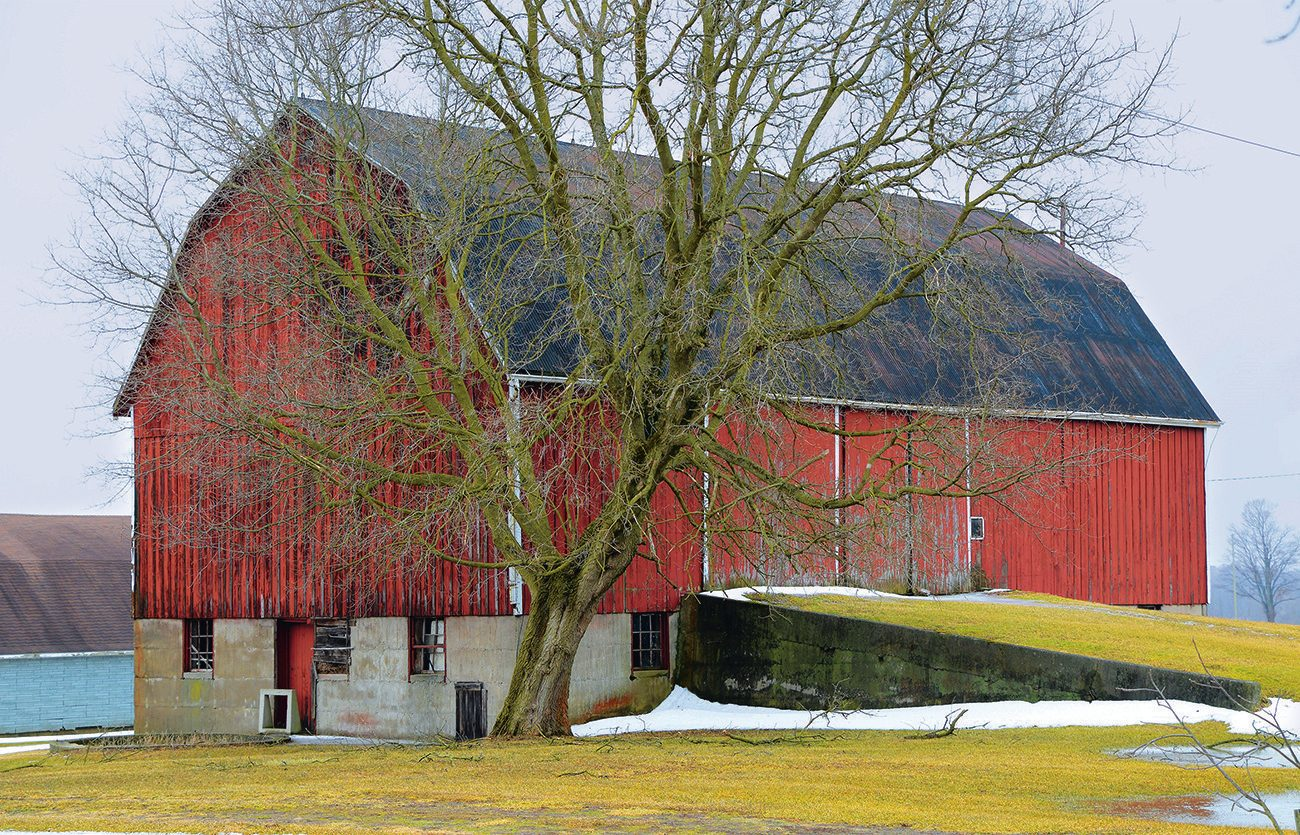Red hip-roof barn with double-width gangway