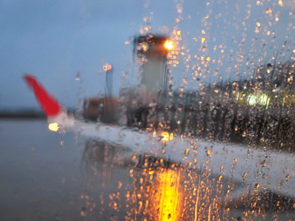 Aviation terms - airplane wing rainy day